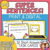 Super Sentences Task Cards for Improving Sentences (Grades 1-2)