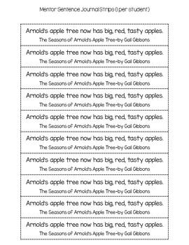 Super Sentences in a Snap: Mentor Sentence Printables (Fall)