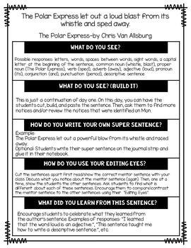 Super Sentences in a Snap: Mentor Sentence Printables (Winter)