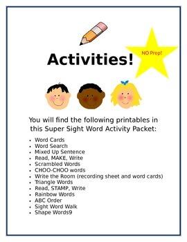 Super Sight Word Activities Week 2