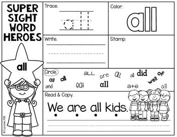 Super Sight Word Heroes {Primer}