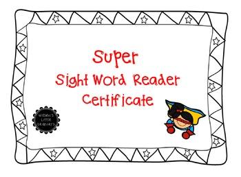 Super Sight Word Reader Certificate