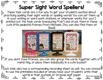 Sight Word Practice for Super Sight Word Spellers!