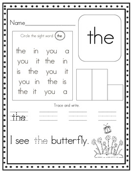 Word Practice PRE-PRIMER (Trace it. Write it. Build it. Find it ...