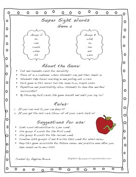 Super Sight Words- Game 5