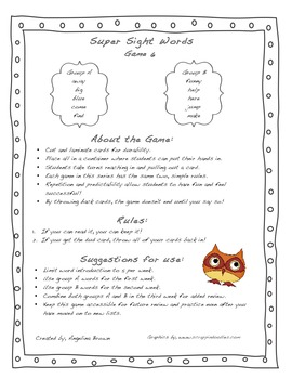 Super Sight Words- Game 6