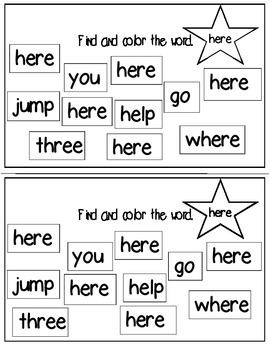 Super Sight Words - Here (interactive sight word book)
