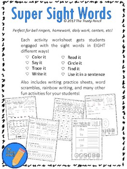 Super Sight Words Pre Primer Dolch List Activities