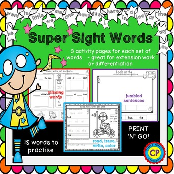 Super Sight Words! Spelling and Reading Printables
