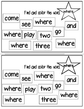 Super Sight Words - Where (interactive sight word book)