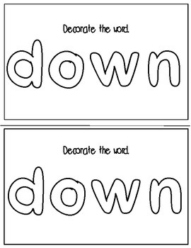 Super Sight Words- - Down