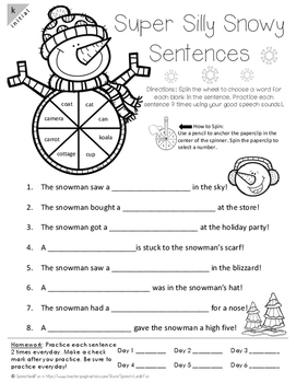 Super Silly Snowy Sentences- Winter Speech therapy activity