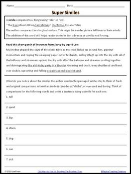 Super Similes Worksheet
