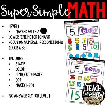 Super Simple 123: Number Worksheets, #0-20 {PreK-K, Special Ed, RTI}