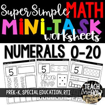 Super Simple 123: Number Worksheets, #0-20 {PreK-K, Specia