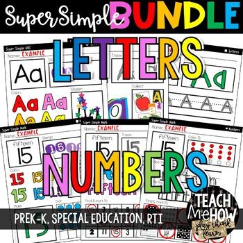 Super Simple BUNDLE: Numbers, 2D Shapes, Letters, Colors, Math & ELA, NO PREP
