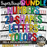 Super Simple Worksheet BUNDLE: Numbers, 2D Shapes, Letters, Colors, NO PREP