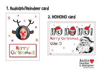 Super Simple Christmas Card - Reindeer(Rudolph) & HOHOHO Picture Card