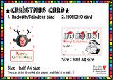 Super Simple Christmas Card - Reindeer(Rudolph) & HOHOHO P