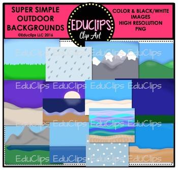 Super Simple Outdoor Backgrounds Clip Art Bundle {Educlips Clipart}