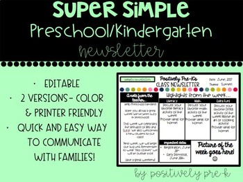 Super Simple Preschool Newsletter