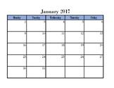 Super Simple Weekday Calendar 2017