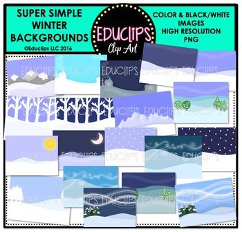 Super Simple Winter Backgrounds Clip Art Bundle  {Educlips Clipart}