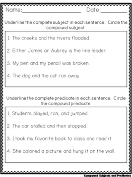 Super Simple Worksheets ~ Grammar ~ Compound Subjects and Predicates