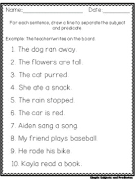 Super Simple Worksheets ~ Grammar ~ Simple Subjects and Predicates