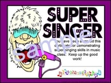 Super Singer Award Certificate