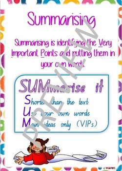 Super Six Comprehension Poster - Summarising