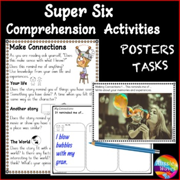 Super Six Comprehension Reading SkillS POSTERS  AND TASK CARDS