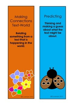 Super Six Comprehension Strategies Displays Bookmarks - Coloured