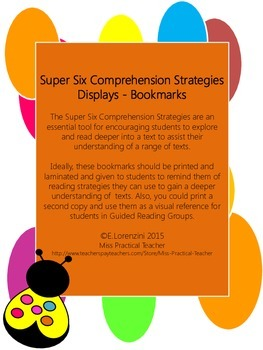 Super Six Comprehension Strategies Displays Bookmarks - White