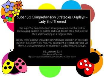 Super Six Comprehension Strategies Displays – Lady Bird Themed