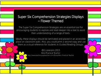 Super Six Comprehension Strategies - Flower Themed