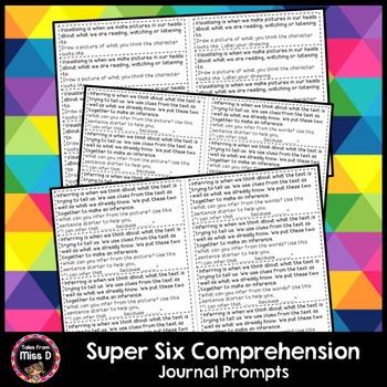 Super Six Comprehension Journal Prompts