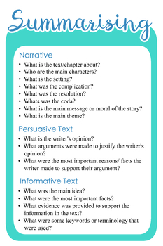 Super Six for Narrative Persuasive and Informative Text Types