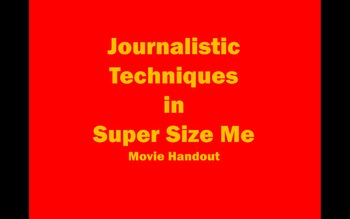 Super Size Me Public Interest Unit Movie Handout