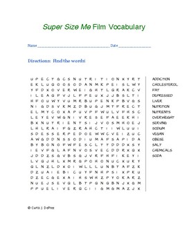 Super Size Me Vocabulary Word Search