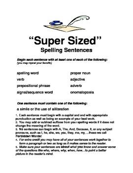 Super-Size Spelling Sentences (Homework/Classwork)