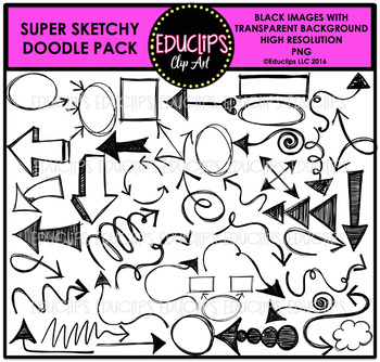 Super Sketchy Doodle Clip Art Pack {Educlips Clipart}