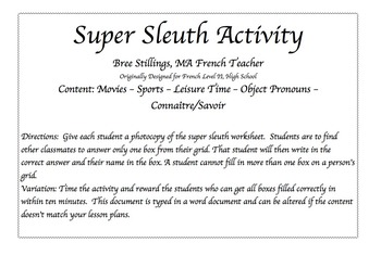 Super Sleuth Activity for French Movies and Entertainment
