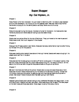 """Super Slugger"" by Cal Ripken Jr. Chapter Summaries and Test"