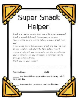 Super Snack Helper Letter for Parents