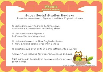 Super Social Studies Review: Roanoke, Jamestown, Plymouth and New England