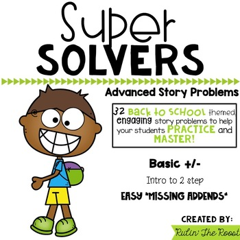 Super Solvers: Back to School themed 2nd grade math word problems