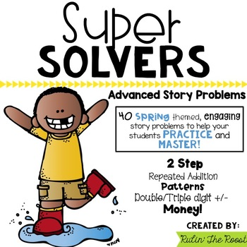 Super Solvers: Spring themed 2nd grade math word problems