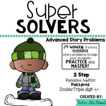 Super Solvers:  Winter 2nd grade math word problems including 2 step
