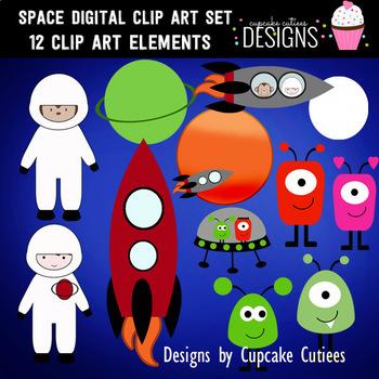 Super Space Digital Clip Art Elements